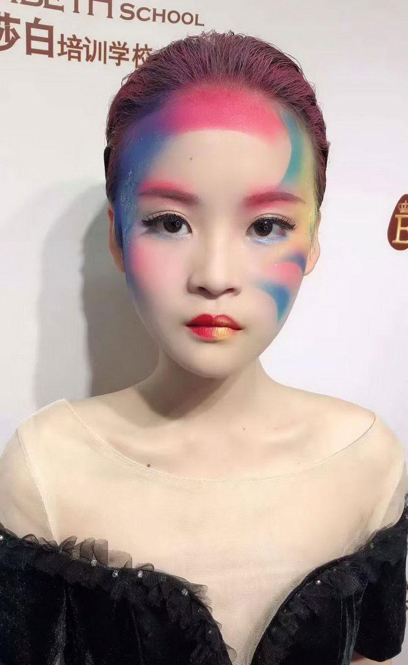 喷枪化妆与传统化妆的结合,短发新娘VS平面创意