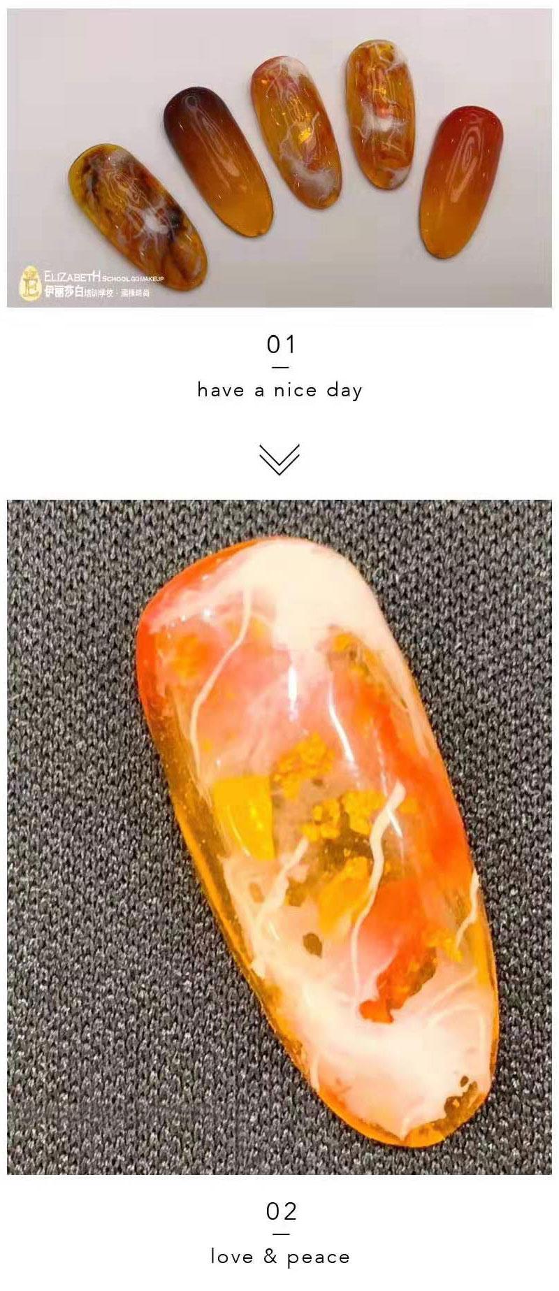 橙色美甲作品晕染效果分享